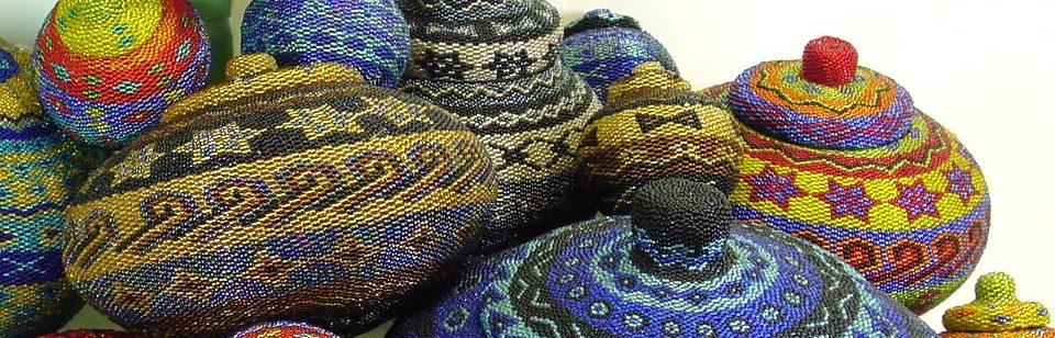 Assortment handcrafted hand beaded baskets
