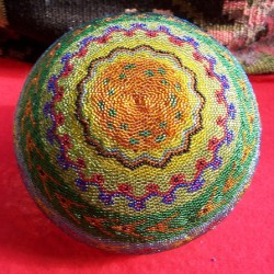 bottom view rainbow beaded basket